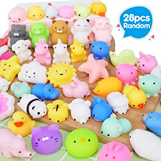 UMIKU 28PCS Mochi Squishy Toys Party Favors for Kids Mini Squishy Kawaii Animal Squishies Squeeze Toy Cat Unicon Squishy Stress Relief Toys for Adults Goodie Bag Filler Birthday Favors for Kids Random