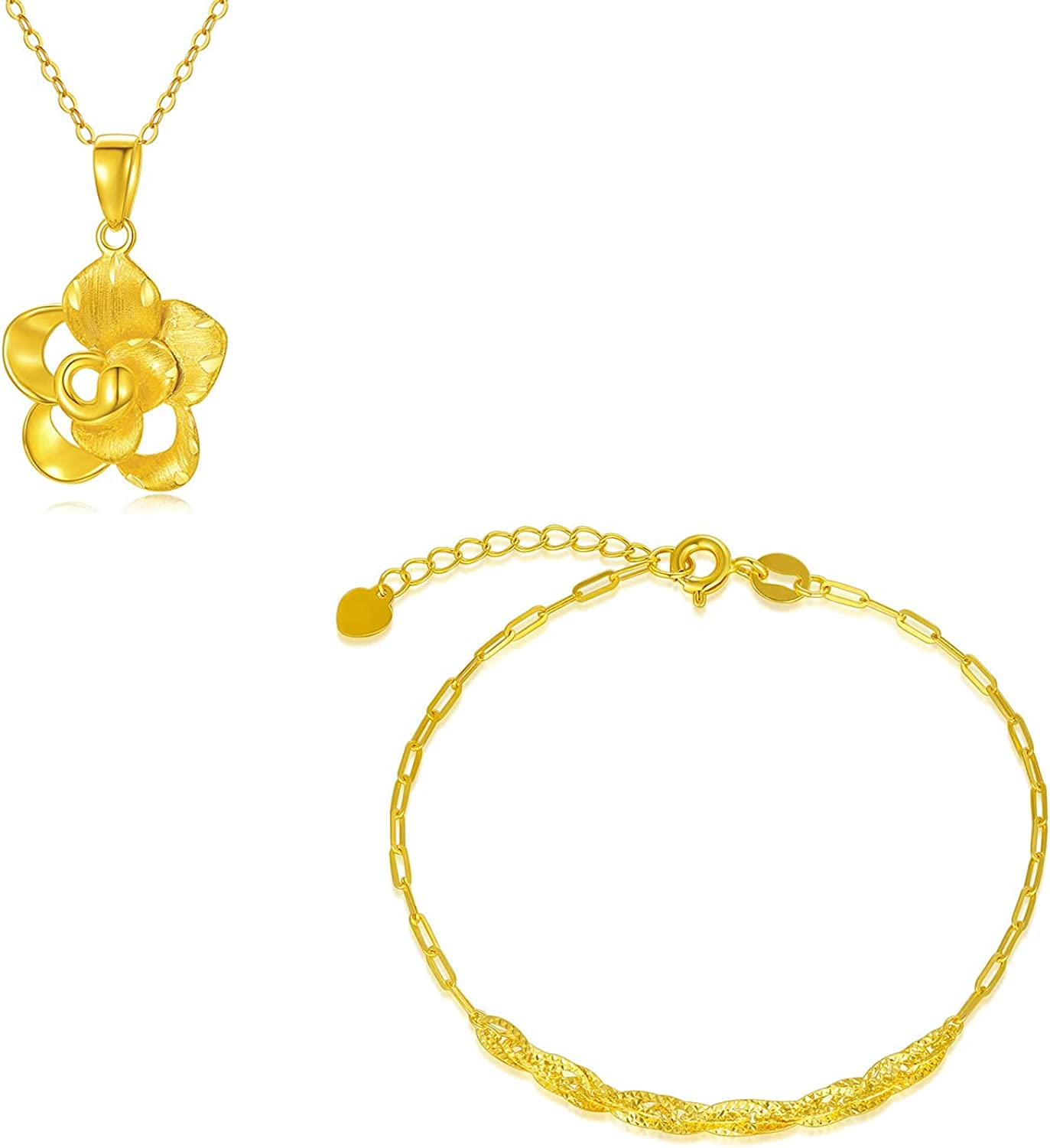 18k Gold Flower Necklace and Dainty Women for Chain Over item handling ☆ Fi Gorgeous Bracelet
