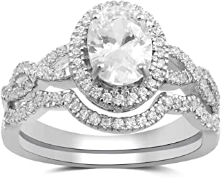 Sterling Silver Cubic Zirconia Oval and Round-Cut Halo Bridal Set
