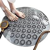 Tappetino da bagno antiscivolo, tappetini per doccia di forma rotonda Tappetini per vasca da bagno resistenti alla muffa con ventose, tappetini da bagno in gomma testurizzata con di scarico(grigio)