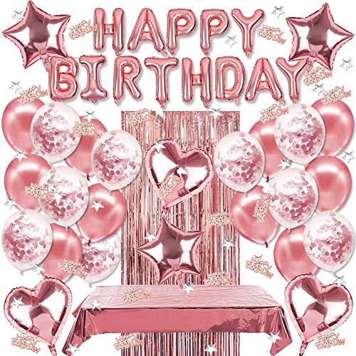 Sunshine smile geburtstagsdeko ,Geburtstag Dekoration Set,Happy Birthday Girlande,konfetti Ballons Gold,Herz folienballon,Stern folienballon,tischdecke,Glitzer Vorhang,Happy Birthday deko (Rosa)
