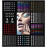 OASMU Halloween 10 Sheets Eye Body Face Gems Rhinestone Stickers Self Adhesive Rhinestones Rainbow Face Gems for Women Festival Accessory and Nail Art Decorations Bling