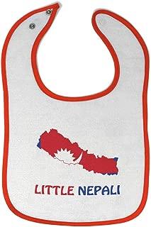 Custom Baby Bibs Burp Cloths Little Nepali Cotton Baby Items for Baby Girl & Boy White Orange Design Only