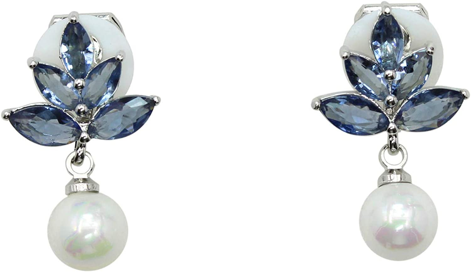 Faship Gorgeous CZ Crystal Dangling Mother Of Pearls Small Clip On Earrings