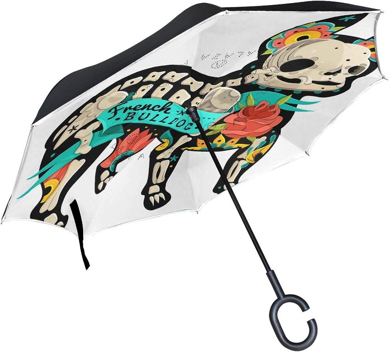GOEPULY Reverse Ingreened Rain Umbrella Windproof Funny Skull French Bulldog Umbrella with C Shaped Handle for Car Outdoor