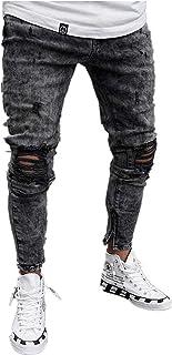 Chickwin, Pantalones Vaqueros Hombre Rotos, Skinny Slim Fit Insignia Largos de Mezclilla de Cintura Baja de Pitillo Deportivos Elástico Cremallera Rota Jeans De Bolsillo