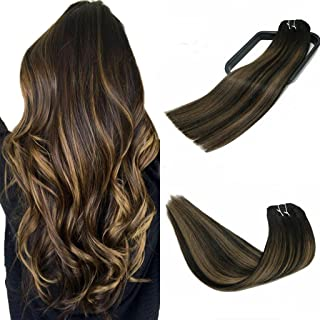 Clip In Human Hair Extensions Thicken Double Weft 10A Brazilian Hair 120g 7pcs Natural Black to Chestnut Brown Highlight Black Full Head Silky Straight 100% Human Hair Clip In Extensions 14 Inch