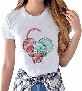Hattare レディース tシャツ 半袖 可愛い 猫柄 ホワイト tシャツ プリント ネコ キャラクター 無地 インナー カットソー 薄手 快適 夏服 トップス 女の子 かわいい 上着 ゆったり 大きいサイズ トレーナー 人気 通勤通学 スポーツ 運動 日常