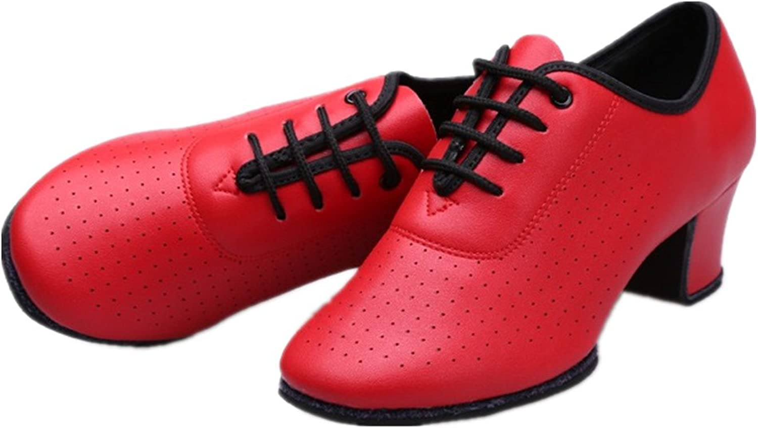 NLeahershoe Leather Laceup Dancing Latin shoes Breathable Dance shoes for Women Swing, Samba Dance Red