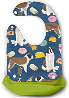 KPIML Navy Saint Bernard Waterproof Adjustable Silicone Bibs,Comfortable Soft Baby Bibs Green