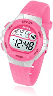 Kids Digital Watch, Girls Boys 50M(5ATM) Waterproof Multi-Functional WristWatches for Children(Pink/Red/Purple/Blue/Black)