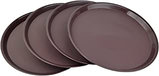 Ggbin Plastic Restaurant Trays, Brown Round Tray, Set of 4
