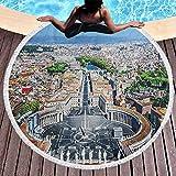 Toalla de playa redonda Toalla de playa europea para mujeres Plaza de San Pedro en Roma Europa mediterránea italiana Citscape Estampado urbano utilizado para la meditación, junto a la piscina, multico