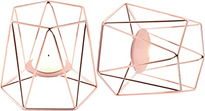 Huasemy Metal Tea Light Candle Holder Set, 2pcs Large Candlestick Lanterns Holders for Table, Iron Hollow Rose Gold, Home Ornament, Living Room, Patio, Wedding, Party, Events, Incense Cones, Spa, Pray
