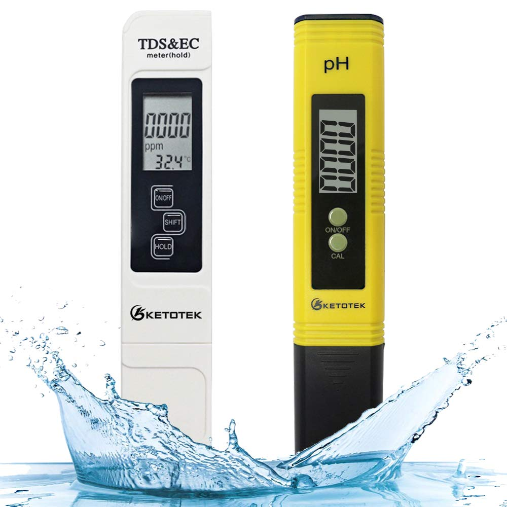 PH Meter TDS Meter 2 in 1 Kit with 0-16.00 ph and 0-9990 ppm Measure Range for Hydroponics RO System Drinking Water Aquariums Fishpond and Swimming Pool KETOTEK Water Quality Test Meter
