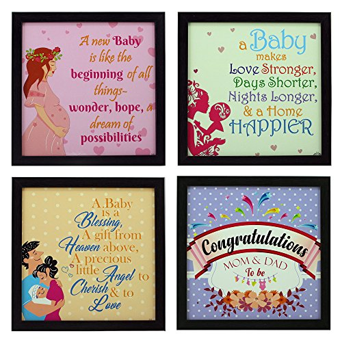 Indianara 4 Piece Set of Framed Wall Hanging Baby Shower Decor Art Prints (1195) 8.7 inch X 8.7 inch Without Glass