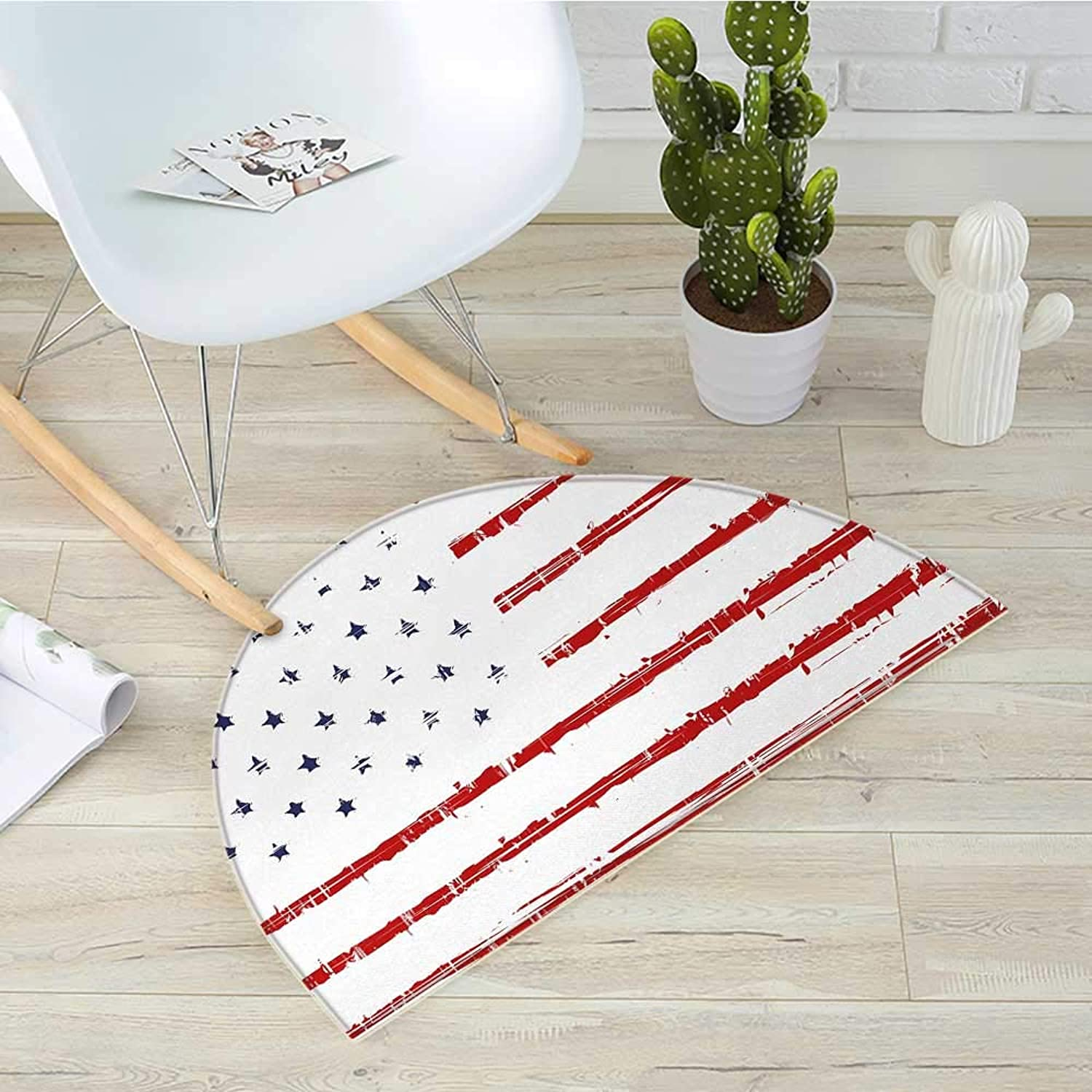 American Semicircular CushionVector Grunge Texture Flag of United States of America Illustration Print Entry Door Mat H 31.5  xD 47.2  bluee White and Red