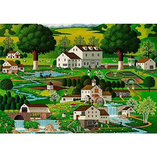 Yangll Erwachsene Puzzle 1000 Stück Cartoon ruhige Stadt Holz Kinderpuzzlespielzeug kreative Dekompression Spaß Geschenk