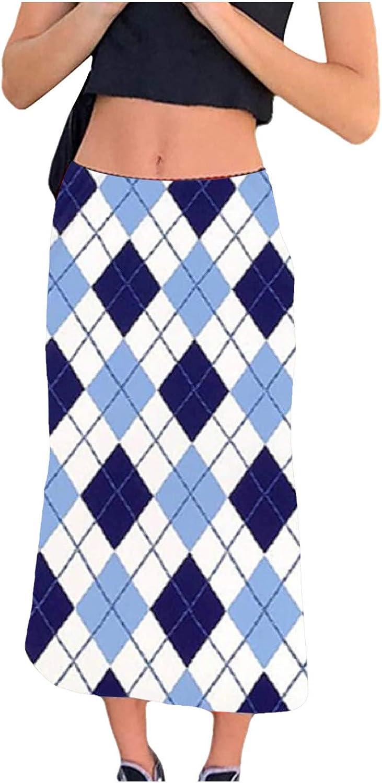 Women's Novelty Tie-dye Print Harajuku Skirt High Waist Bodycon Midi Skirts Y2K Streetwear E-Girls 90S Fashion Skirt