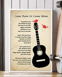Mattata Decor Gift - Come Rain or Shine Song Lyrics Portrait Poster Print (12