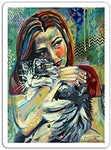 gordonstore Sticker Creature Animal Girl with Cat 2 Animals Fauna (3