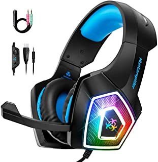 Gaming Headset with Mic, 7 LED Light Soft Memory Earmuffs & Noise Canceling, Headphones Stereo Over Ear Bass 3.5mm Wired G...