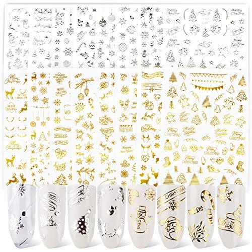 FLOFIA 16 Blatt Gold Silber Nagelsticker Weihnachten Selbstklebend Nagelaufkleber Weihnachten Nail Art Tipp Sticker Decals DIY Dekoration für Damen Mädchen Fingernägel Tattoo