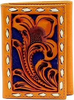 ربطة العنق Nocona للرجال ذات التصميم الأزرق الزهري مثقوب ثلاثي الطيات