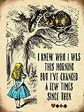"Wandschild, Motiv Alice im Wunderland ""I knew who I was"