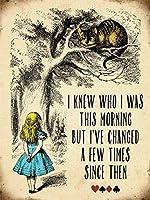 不思議の国のアリス「私はこの朝だったのか知っていた」チェシャ猫ビンテージスタイルメタルウォールプラークサイン