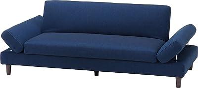 不二貿易 ソファベッド 3人掛け 幅185.5cm ブルー ファブリック クリビア 18460