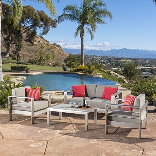 Christopher Knight Home Sonora Outdoor Aluminum 4-Piece Loveseat Set with Cushions