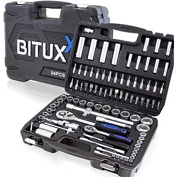 BITUXX® 94 teiliges Steckschlüsselset Ratschenkasten Knarrenkasten Nusskasten mit Koffer Werkzeugkoffer Stecknüsse Kardangelenk Zündkerzenstecknüsse Ratsche Bits 6-Kant-Schlüssel Verlängerungen Quergriff Torx