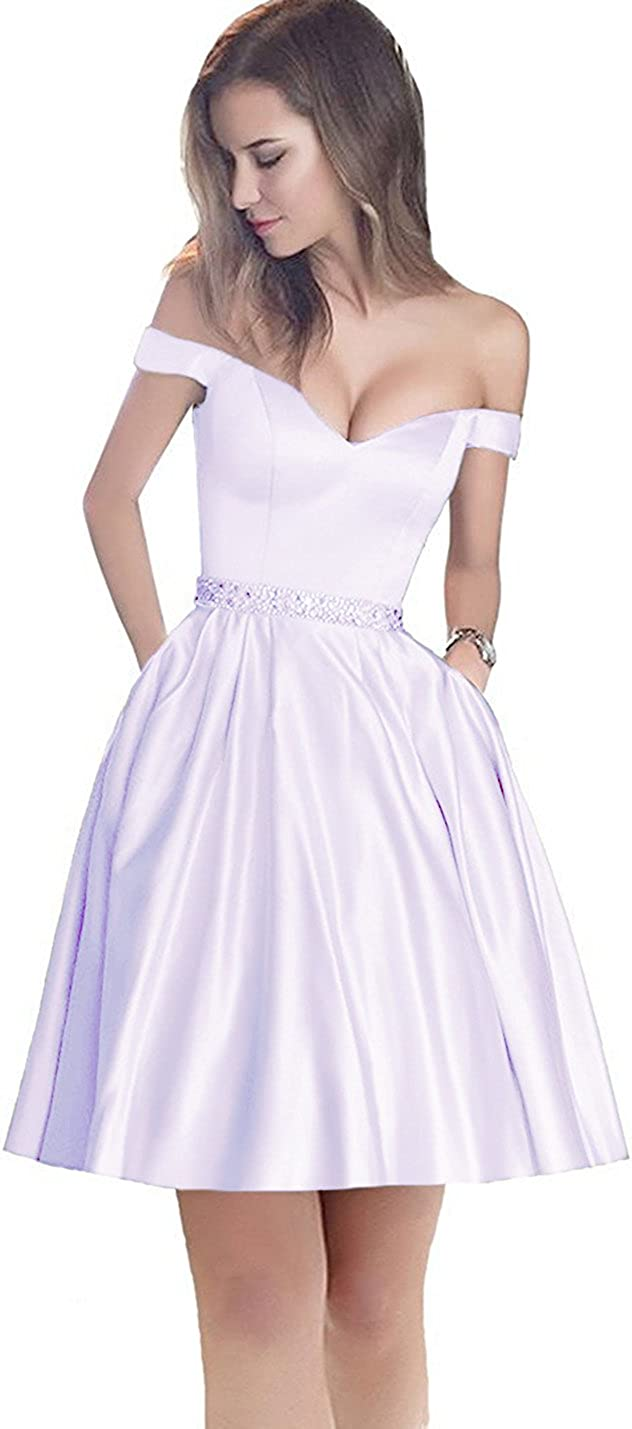 SDRESS Women's Beaded Crystals Off-The-Shoulder Sweetheart A-line Prom Dress