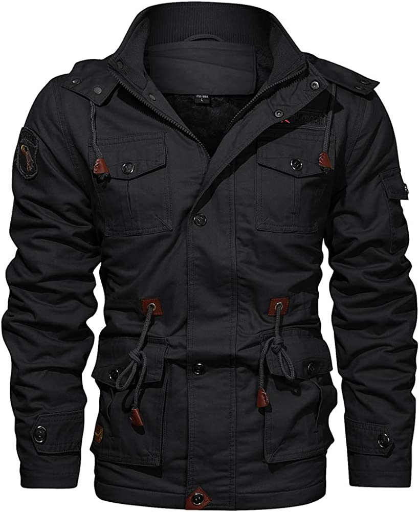 Wohthops Men's Winter Military Jacket Lined Don't miss the campaign Removabl Fleece All items in the store with