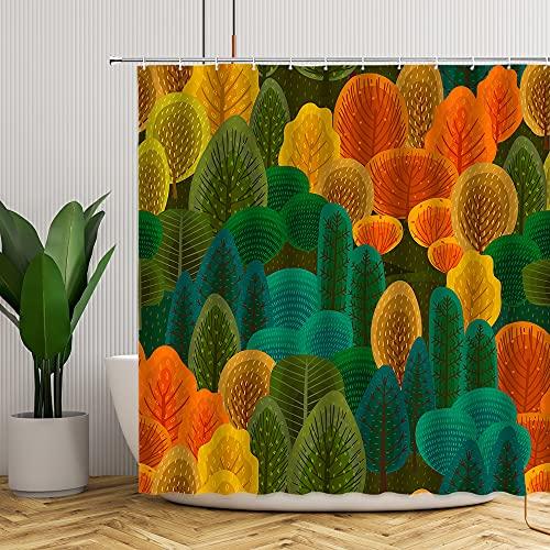 Duschvorhang, Aquarell-Blätter, Herbstfarbe, handbemalter Druck, gelb-grün, Badezimmer-Dekoration mit Haken