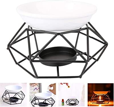 Oil Burner, Candle Warmer, Geometric Iron Ceramic Candle Holder with Ceramic Candle Scent for Spa Yoga Meditation House Living Room Decorating Black