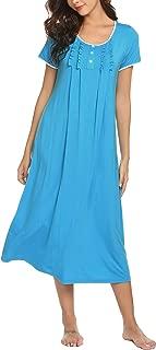 Sleepwear Women's Long Sleeve Printed Pocket Nightgowns S-XXL