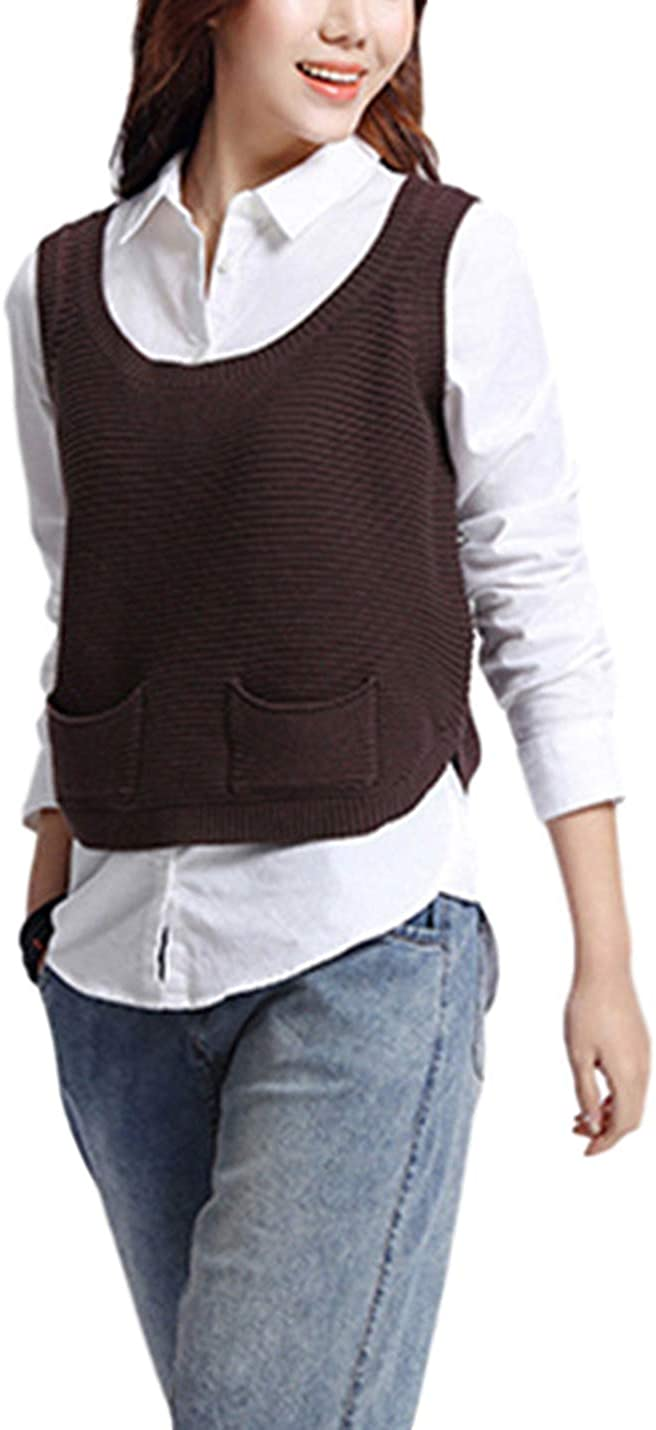 PUWEI Women's Solid Round Neck Sleeveless Knit Sweater Vest Top with Pockets