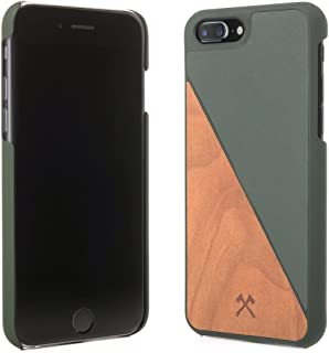 Woodcessories - Real Wood Case Compatible with iPhone 7 Plus / 8 Plus, EcoCase Split (Cherry/Green)