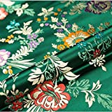 HELLOCOOL Chinese Satin Faux Brocade Fabric, Damast Silky
