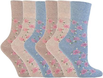 NEW: 6 Pairs Ladies Gentle Grip No Elastic Socks 4-8 uk, 37-42 eur