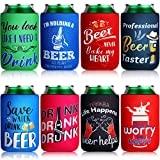 8 Pieces Beer Can Sleeves Beer Can Coolers Funny Quotes Neoprene Drink Cooler Sleeves for Cans and Bottles