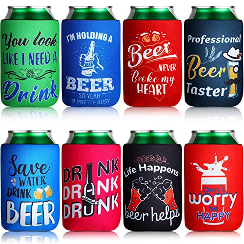 8 Pieces Beer Can Sleeves Beer Can Coolers Funny Quotes Neoprene Drink Cooler Sleeves for Cans and...