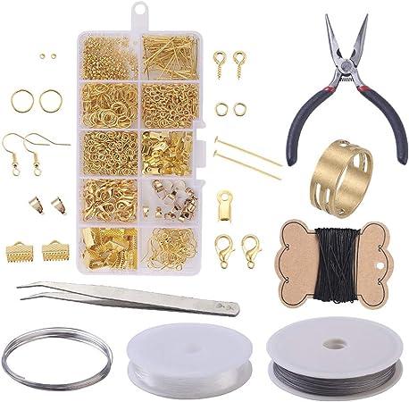 Kit de suministros para hacer joyas,kit de herramientas para hacer pendientes con alicates para joyer/ía,alambre de abalorios,cuentas de joyer/ía y pendientes para reparaci/ón para y principiantes,dorado