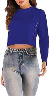Macondoo Women Basic Button Top Long Sleeve Cropped Tee T-Shirts