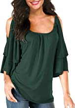BBX Lephsnt Women's Summer Cold Shoulder Ruffle Sleeve Loose Stretch Tops Tunic Blouse Shirt