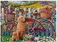 新しい犬の春ゴールデンレトリバーパズル500ピース木製大人のジグソーパズルカラー抽象的な絵画パズル子供のための教育玩具ギフト