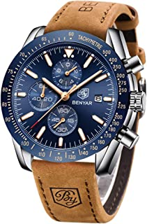 BENYAR Mens Watches Waterproof Chronograph Analog Business Watch for Men with Brown Leather Strap