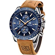 BENYAR Mens Stainless Steel Waterproof Chronograph Analog Watch Luxury Business Dress Watch...